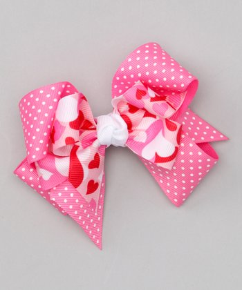 Heart Polka Dot Double Layered Bow Clip