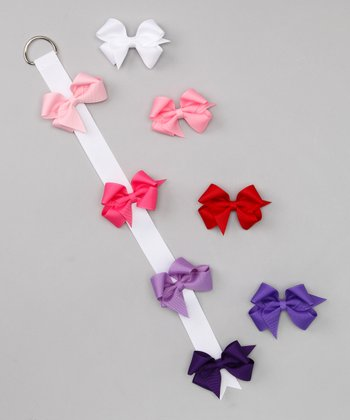 Pink & Purple Bow Clip Set & Holder