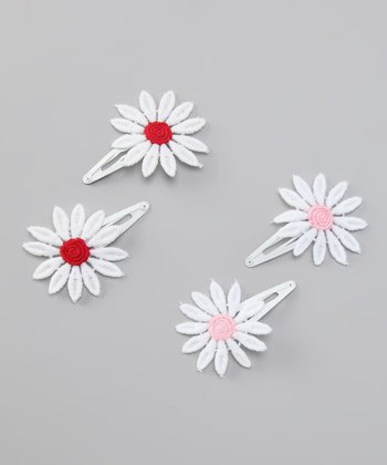 Red & Pink Embroidered Daisy Clip Set