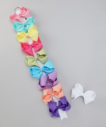 Pastel Bow Clip & Holder Set