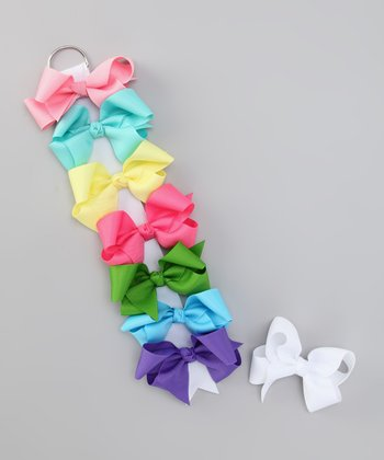 Pastel Basic Bow Clip & Holder Set