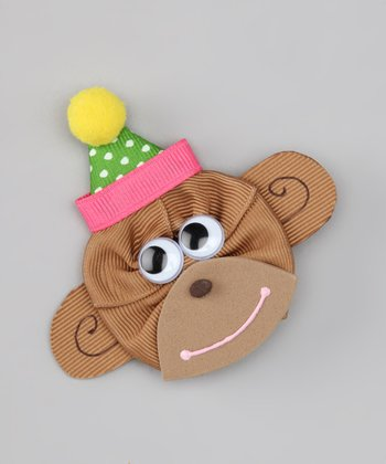 Pink & Brown Birthday Monkey Clip