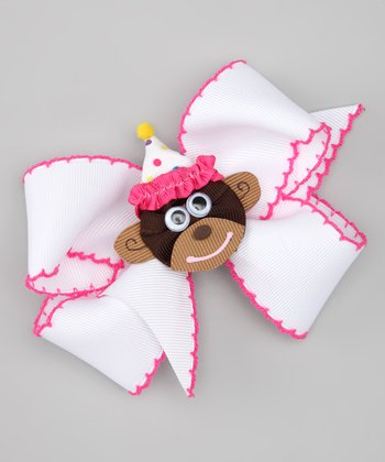 Shocking Pink & White Birthday Monkey Bow