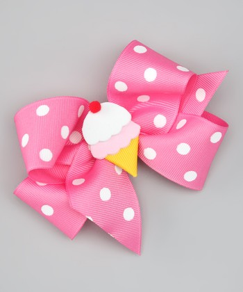 Pink Ice Cream Polka Dot Bow Clip