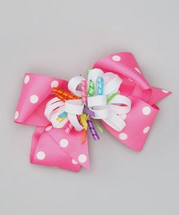 Hot Pink Party Polka Dot Clip Set