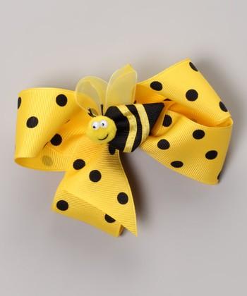 Maize Polka Dot Bow & Bumble Bee Clip Set