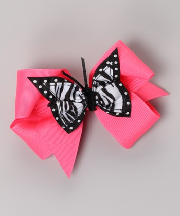 Neon Pink Butterfly Clip & Bow Set