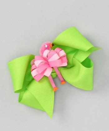 Green Bow & Pink Flamingo Clip Set