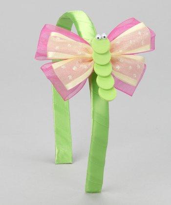 Green & Pink Butterfly Headband & Clip
