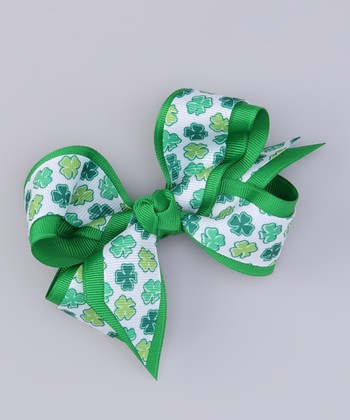 Seedling Shamrock Bow Clip