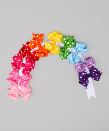 Rainbow Polka Dot Large Clip Set & Bow Holder