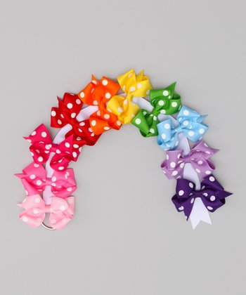 Rainbow Polka Dot Bow Clip & Holder Set