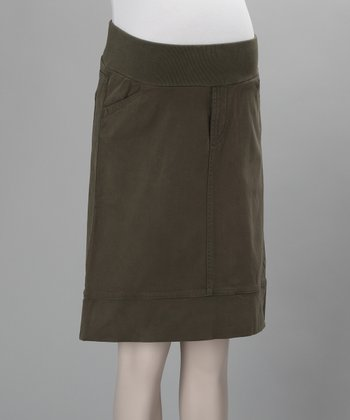 Hunter Green Carola Underbelly Maternity Skirt