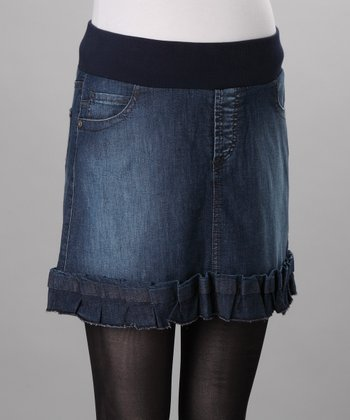Medium Wash Aisha Under-Belly Maternity Denim Skirt