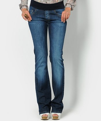 Medium Dark Wash Roke Underbelly Maternity Bootcut Jeans