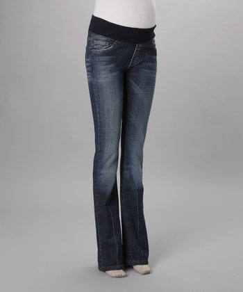 Medium Wash Under-Belly Maternity Bootcut Jeans