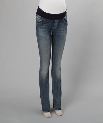 Light Wash Underbelly Maternity Skinny Jeans