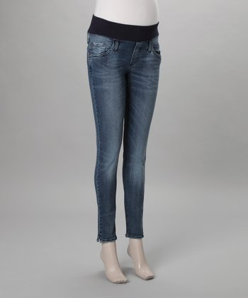 Medium Wash Under-Belly Maternity Skinny Cropped Jeans