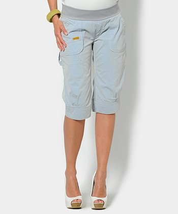 Stripes Sky Underbelly Maternity Capri Cargo Pants