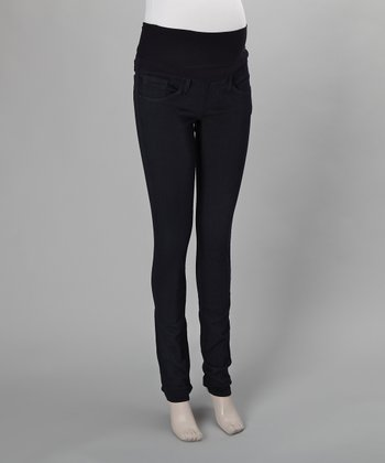 Blue Super Skinny Over-Belly Maternity Leggings