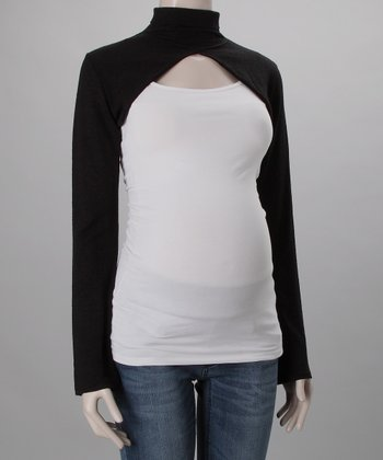 Black Wool-Blend Turtleneck Bolero