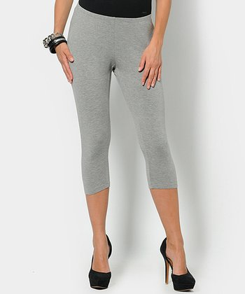 Gray Melange Underbelly Maternity Capri Leggings