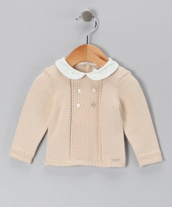 Pili Carrera Tan Crocheted Peter Pan Wool-Blend Sweater - Infant
