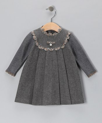 Pili Carrera Gray Medallion Wool-Blend Dress - Infant & Toddler