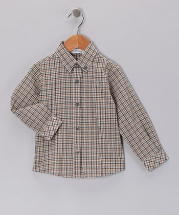 Pili Carrera Tan Plaid Button-Up - Infant, Toddler & Girls