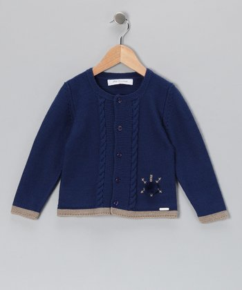 Pili Carrera Blue Pom-Pom Wool-Blend Cardigan - Infant & Toddler