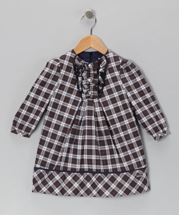 Pili Carrera Brown Plaid Ruffle Dress - Toddler & Girls