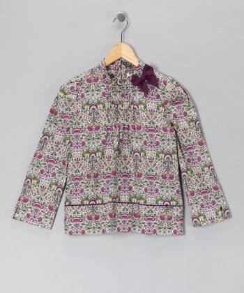 Pili Carrera Pink Floral Bow Blouse - Toddler & Girls