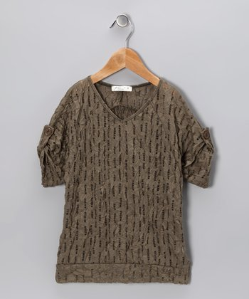 Olive Hole Stripe Top - Girls