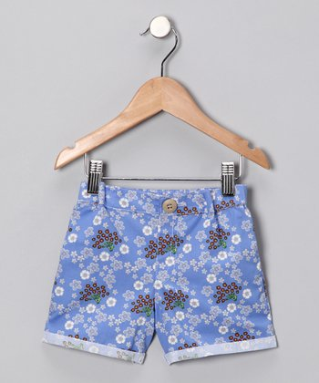Blue Serenity Peacock Shorts - Infant, Toddler & Girls