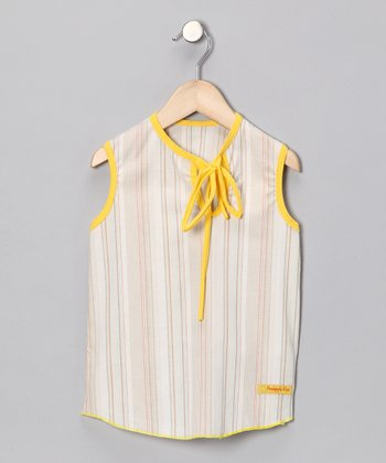 Gray & Yellow Stripe Top - Infant, Toddler & Girls