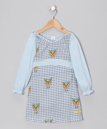 Blue Butterfly Sarah Dress - Infant & Toddler