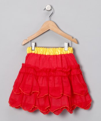 Red Voile Ruffle Skirt - Infant, Toddler & Girls