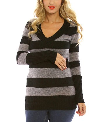 Black & Gray Stripe Maternity Sweater