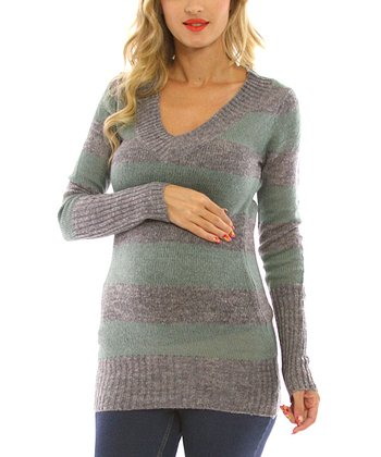 Jade & Gray Stripe Maternity Sweater