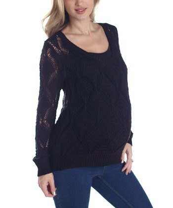 Black Maternity Long-Sleeve Sweater