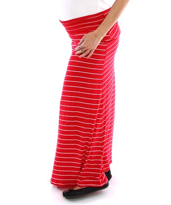 PinkBlush Red & White Stripe Under-Belly Maternity Maxi Skirt