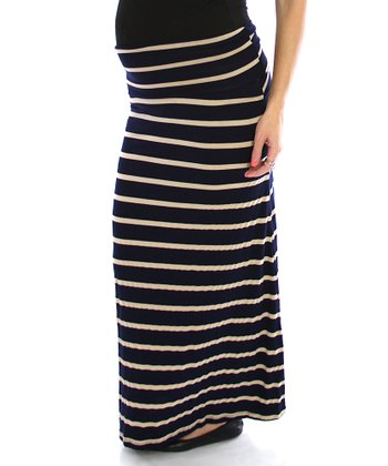 PinkBlush Navy & Beige Stripe Under-Belly Maternity Maxi Skirt