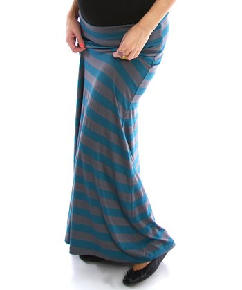 Teal & Gray Stripe Under-Belly Maternity Maxi Skirt