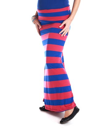 Pink & Royal Blue Stripe Maternity Maxi Skirt - Women