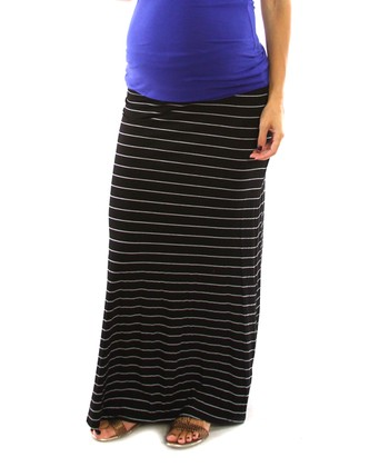Black & White Stripe Maternity Maxi Skirt