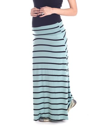 Mint Green & Black Stripe Maternity Maxi Skirt