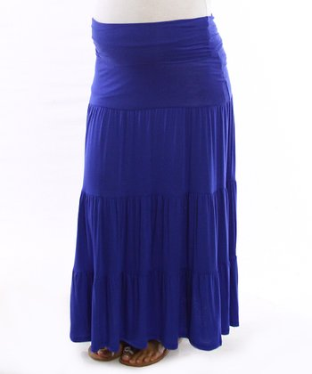 Royal Blue Bohemian Mid-Belly Peasant Skirt