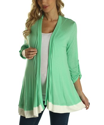 PinkBlush Mint Green & White Color Block Maternity Open Cardigan