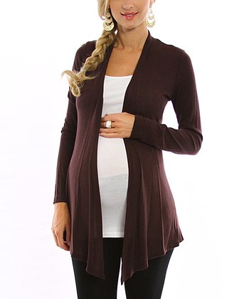 Brown Maternity Open Cardigan - Women