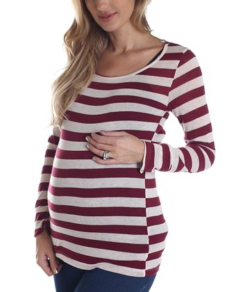 Burgundy & White Stripe Maternity Long-Sleeve Shirt